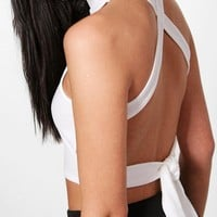 Avery Strappy Back High Neck Crop   Boohoo