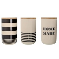Off White & Black Jar with Wood Lid, 3 Styles