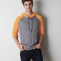 AEO Colorblocked Hoodie T-Shirt, Gravel Heather | American Eagle Outfitters