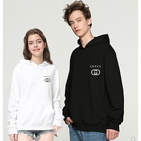 Gucci new small letter logo printed jacket fashion men and women big pocket pullover hoodie