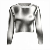 Long Sleeve Crop Knitted Stripe Sweater in White