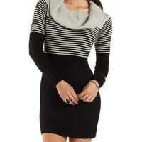 Striped Off-the-Shoulder Sweater Dress - Black Combo