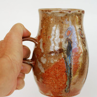 Mug 16 oz POTTERY, Handmade Ceramic Beer Stain with carved figures, big pottery ceramic mug for coffee and tea, beer ceramic stein.
