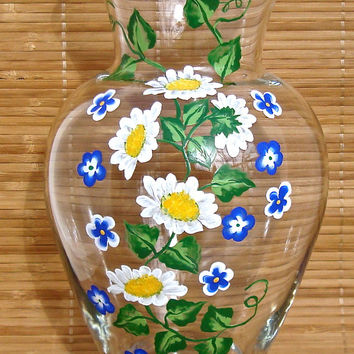 Hand Painted Vase With Daisies And Blue Flowers