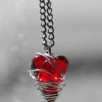 The Imprisoned Heart Necklace - wire wrapped red tornado heart