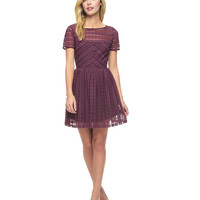 LINEAR EMBROIDERED MESH DRESS