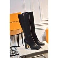 lv louis vuitton trending womens black leather side zip lace up ankle boots shoes high boots 288