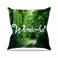 """Chlesea Victoria """"Wonderful"""" Green Nature Throw Pillow"""