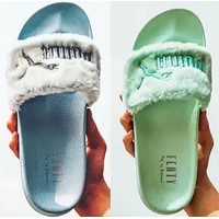 """PUMA"" Rihanna Fenty Leadcat Fur Slipper Shoes ( Mint Green / Sky blue )"