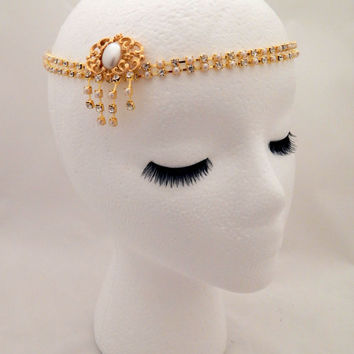The Sybil - Crystal pearl gold headpiece, 1920s wedding hair chain, gold pearl Gatsby hairpiece, pearl art nouveau hair chain
