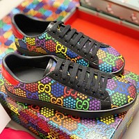 Tiktoki1 GUCCI New fashion multicolor more letter print couple shoes Black