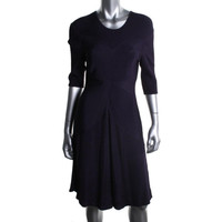 Nanette Lepore Womens Ribbed Knit 3/4 Sleeves Party Dress