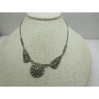 Vintage Sterling Silver Marcasite Necklace, 1920's-1930's, 16""
