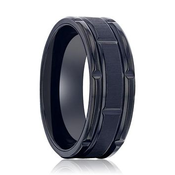 WYNN Alternating Grooves And Horizontal Etched Finish Black Titanium Men's Wedding Band With Alternating Grooved Beveled Polished Edges - 8 mm