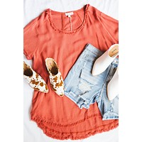 Piper Hi Low Linen Top, Red Clay | Plus Size