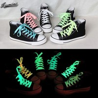 1pair 80cm sport luminous shoelace glow in the dark color fluorescent shoelace Athletic Sport shoe laces reflective shoelaces