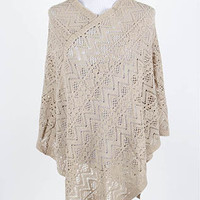 Champagne Colored Crocheted Poncho