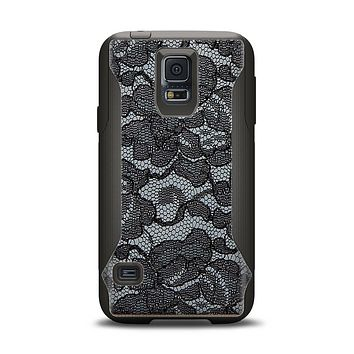 The Black Lace Texture Samsung Galaxy S5 Otterbox Commuter Case Skin Set
