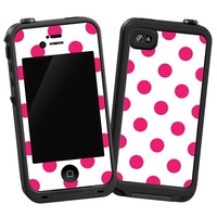 """Raspberry Polka Dot on White """"Protective Decal Skin"""" for LifeProof iPhone 4/4s Case"""