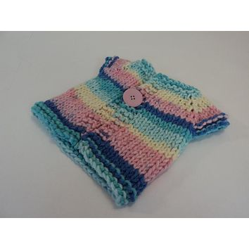 Handcrafted Girls Baby Sweater Pink Blue Yellow 100% Acrylic Female 0-1 Striped -- New No Tags