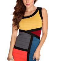Mustard Multi Colorblock Sexy Bandage Dress