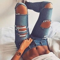 DCCK6HW Women Bodycon Fashion Ripped Worn Hollow Jeans Trousers