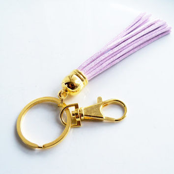 Mauve Leather Tassel Key Ring - Suede Tassel Key Chain - Purse Tassel - Gold And Lilac Key Fob - Leather Fringe - Key Chain With Split Ring