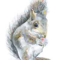 Squirrel Watercolor Painting - 4 x 6 - Giclee Reproduction Fine Art Print - Nursery Art - Woodland Animal