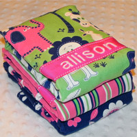 SALE Personalized Burp Cloth Set - Baby Girl Flannel Bundle of Jungle Pink and Green