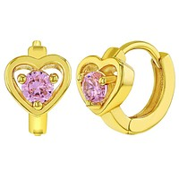 18k Gold Plated Pink Huggie Heart Small Hoop for Girls Children Earrings 8mm