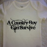 White A Country Boy Can Survive Baby Onesuit