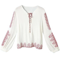 White Graphic Print Cuff Sleeve Blouse