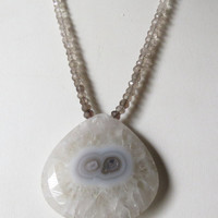Solar Quartz Focal and Quartz Rondells Necklace with Sterling Silver, Statteam