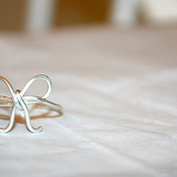 silver lyra - sterling silver bow ring by lilla stjarna - gifts under 25 - sterling silver wire bow ring - bow ring - valentine's day gift