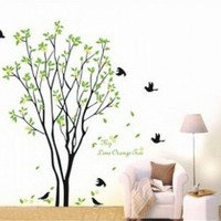 Large Tree Flying Black Birds with Quote Wall Sticker Decal for Kids Room Living Room