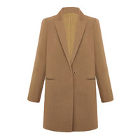 Brown Notched Collar Single Breasted Long Sleeves Coat With Pockets
