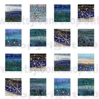"""0.75"""" x 0.83"""" tiles - Instant Download - digital collage sheet - blue fabric art by Jackie Chadwick"""