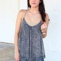 Flawless Mineral Wash Crochet Trim Tank {Grey}