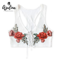 AZULINA Embroidery White Black Knitted Bustier Crop Top Women Summer Lace Up Party Sexy Short Tank Top Sleeveless Beachwear Tops