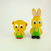Bear and Rabbit Yellow Rubber Toy, Soviet Vintage, Soviet Toy, Russian Toy, Bunny, Bunny with Green Union Suit, Bear with Green Union Suit