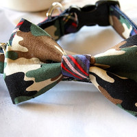 "Tartan Plaid Camo Bow Tie Dog Collar 3/4"", Ready to ship"