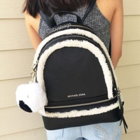 NWT MICHAEL KORS Rhea Medium Leather Shearling Backpack Black White Free Gift