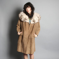 Vintage 60s SUEDE JACKET / Fluffy Real Arctic Fox Collar