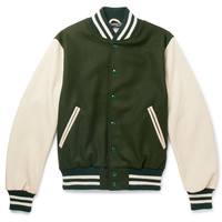 Golden Bear - Virgin Wool-Blend and Leather Bomber Jacket