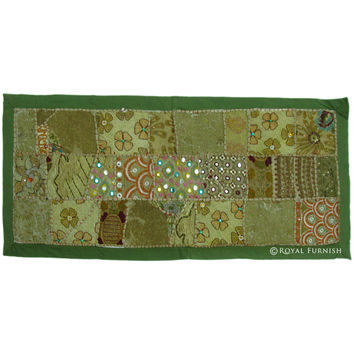 Green Small India Vintage Hand Patchwork Tapestry Runner