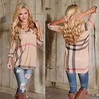 V Neck Tops Tee Plaid Shirt Three-quarter Sleeve Blouse