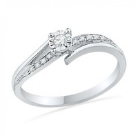 10KT White Gold Round Diamond Bypass Promise Ring (1/10 cttw)