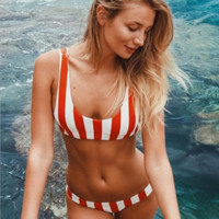 2018 Striped Triangle Bikini Swimwear