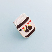 Nutella Enamel Pin Badge, Lapel Pin, Tie Pin - Chocolate Spread - Hazelnut Spread Badge