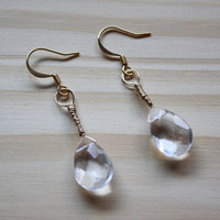 Gold Wire Wrapped Droplet Earrings with Clear Teapdrop Celestial Crystals